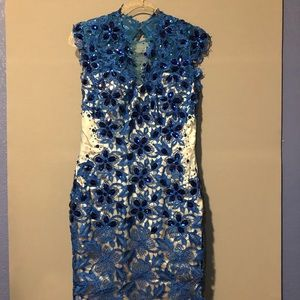 Blue/cream lining gown and jewel lace applicas